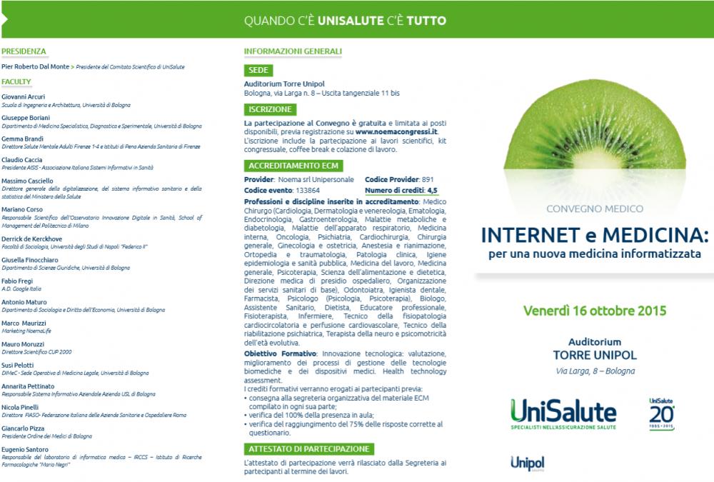 prima parte del programma del Convegno UniSalute 2015
