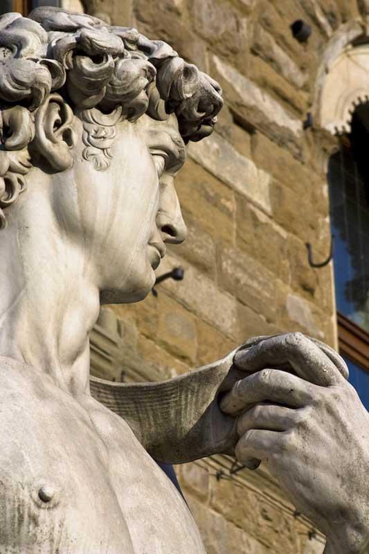 particolare del volto del David di Donatello