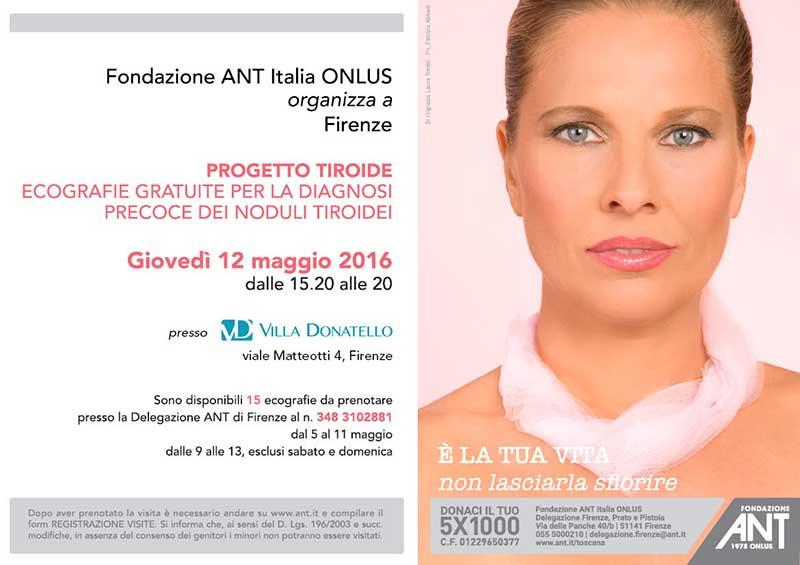 volantino di presentazione dei servizi di prevenzione gratuiti contro i tumori tiroidei