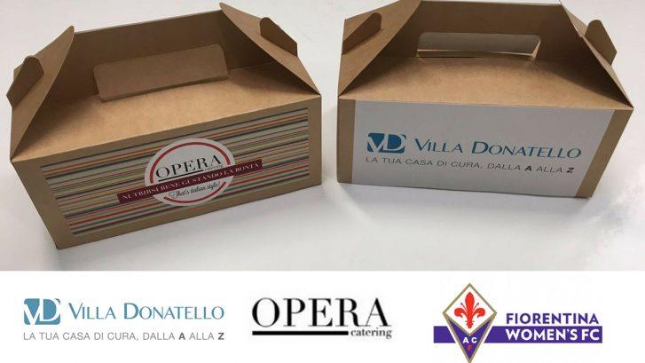 """due confezioni della """"Merenda dello sportivo"""" a cura di Villa Donatello e Opera Catering"""