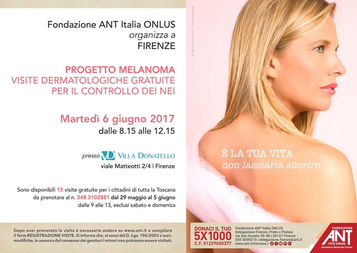 la locandina del Progetto Melanoma a Giugno presso Villa Donatello