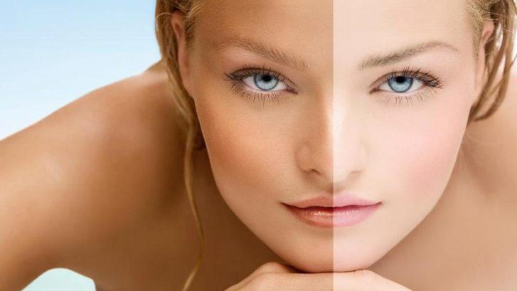 immagine del volto di una ragazza con due diverse tipologie di abbronzatura