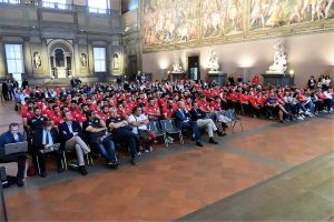 il pubblico presente nel Salone dei Cinquecento a Firenze per la presentazione della Stagione Sportiva del Rugby Club I Medicei di Firenze