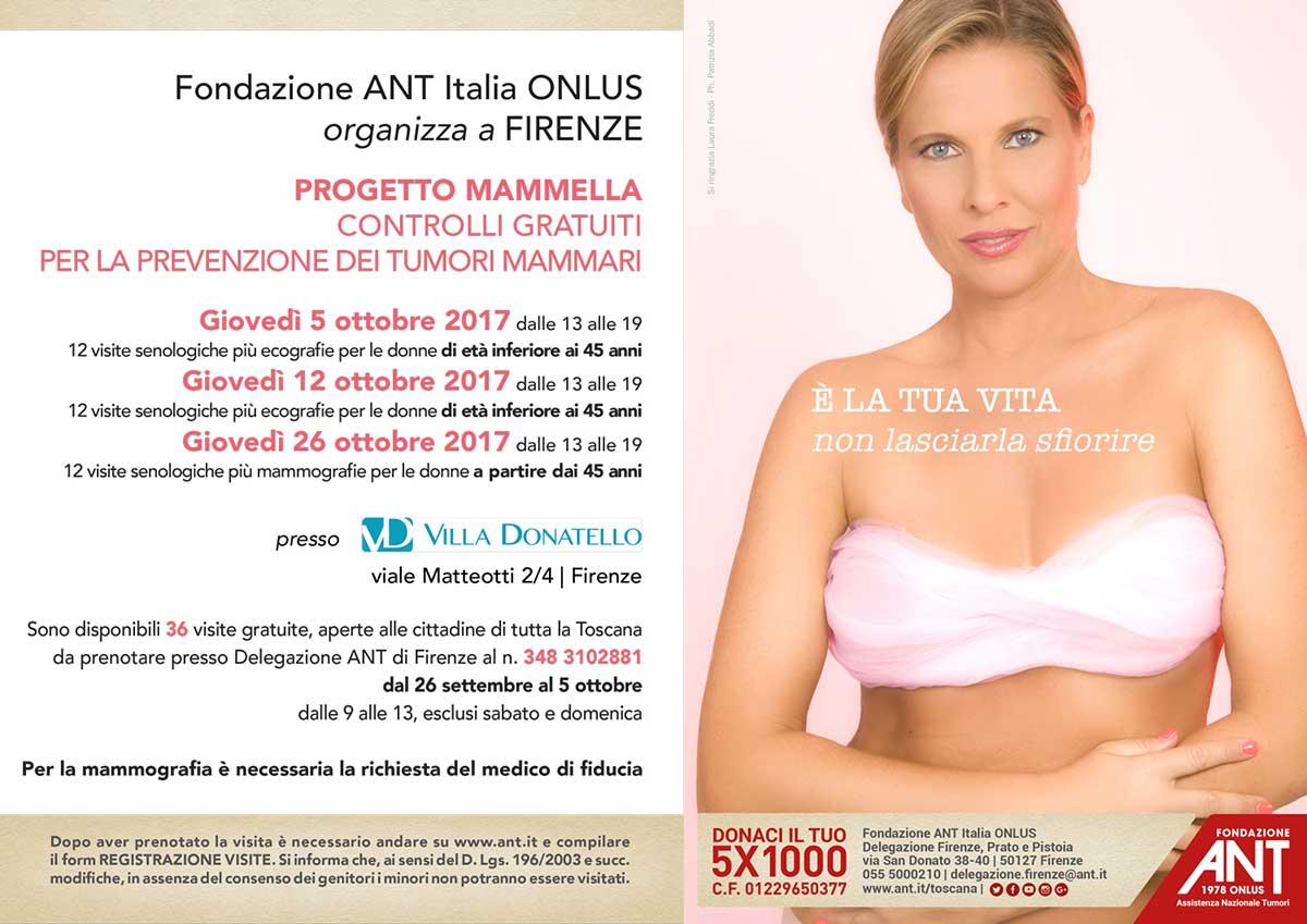 locandina con Laura Freddi per la prevenzione del tumore al seno