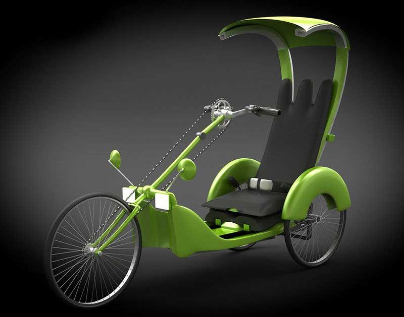 immagini del prototipo di H.A.N.D.I. un triciclo guidabile soltanto con le mani