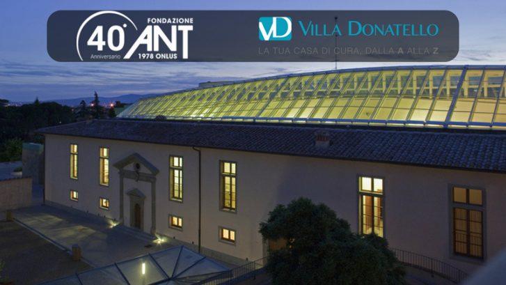 La nuova sede di Villa Donatello a Firenze Castello, illuminata di notte