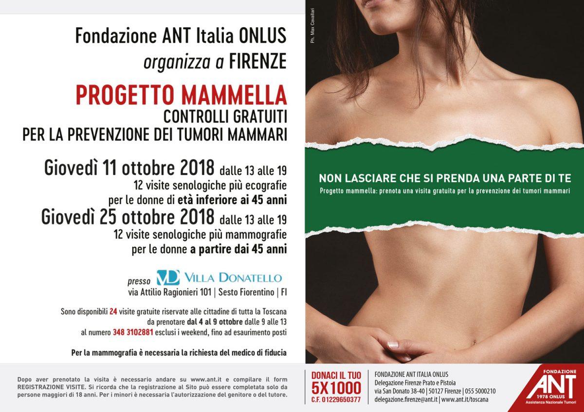 Locandina del Progetto Mammella Ottobre 2018