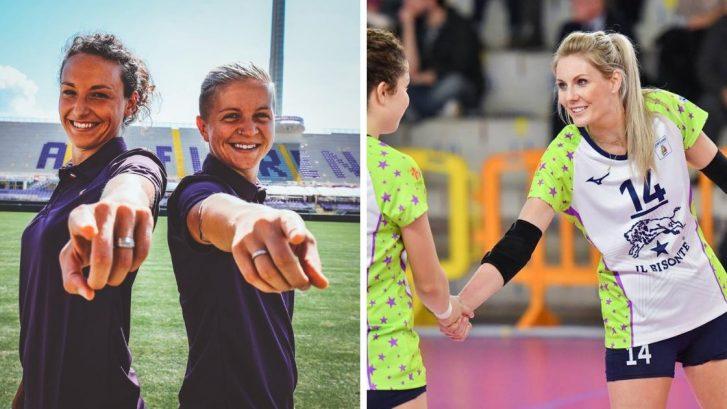 le ragazze della fiorentina women's FC e de Il Bisonte San Casciano Volley