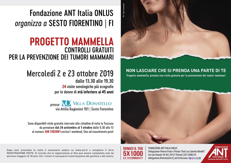locandina di presentazione del Progetto Mammella: visite gratuite di prevenzione oncologica dedicate al tumore mammario a Villa Donatello, Sesto Fiorentino