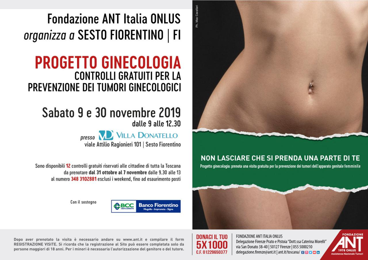 Locandina del Progetto Ginecologia di Novembre 2019 a Sesto Fiorentino