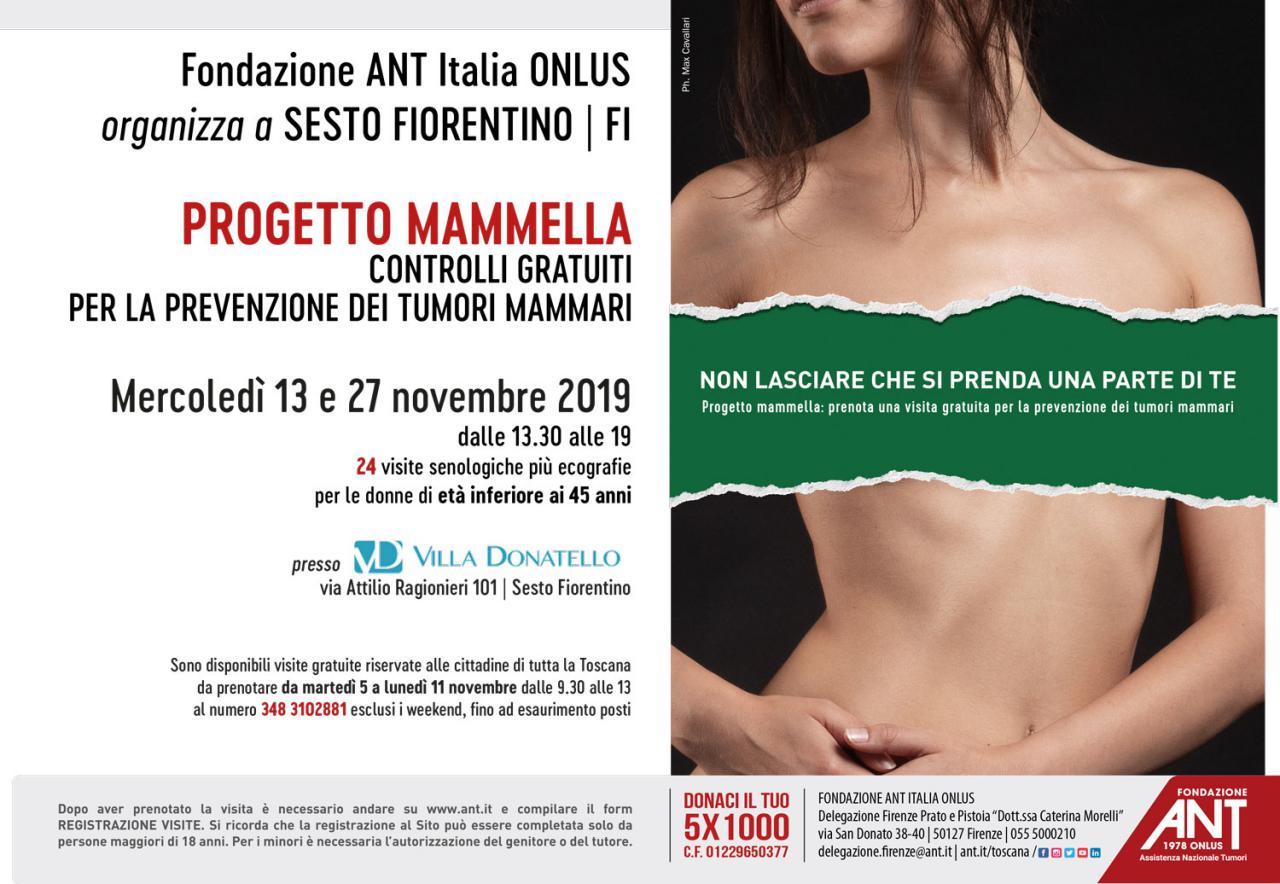 Locandina del Progetto Mammella, a Sesto FIorentino per il mese di Novembre 2019