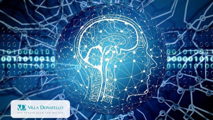 grafica che mostra il cervello dell'uomo come collegato da reti di computer