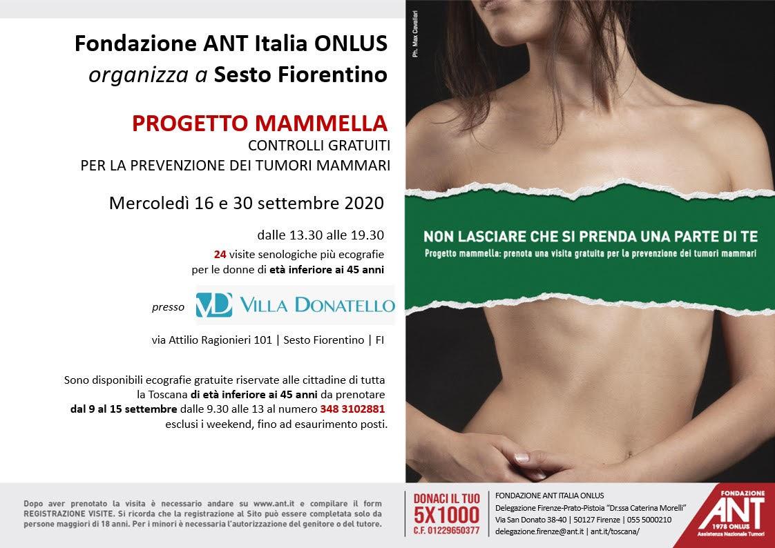 locandina dedicata alle visite di prevenzione oncologica gratuite a Villa Dontello, nel mese di Settembre 2020