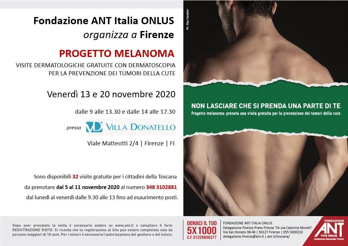 locandina di presentazione del Progetto Melanoma a Villa Donatello - Novembre 2020