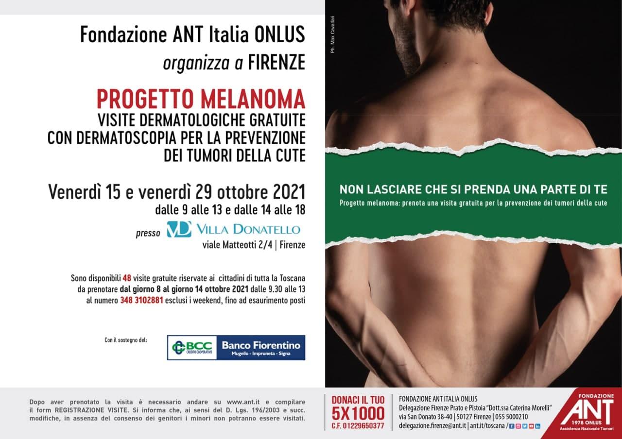 locandina del Progetto Melanoma Ottobre 2021 presso Villa Donatello