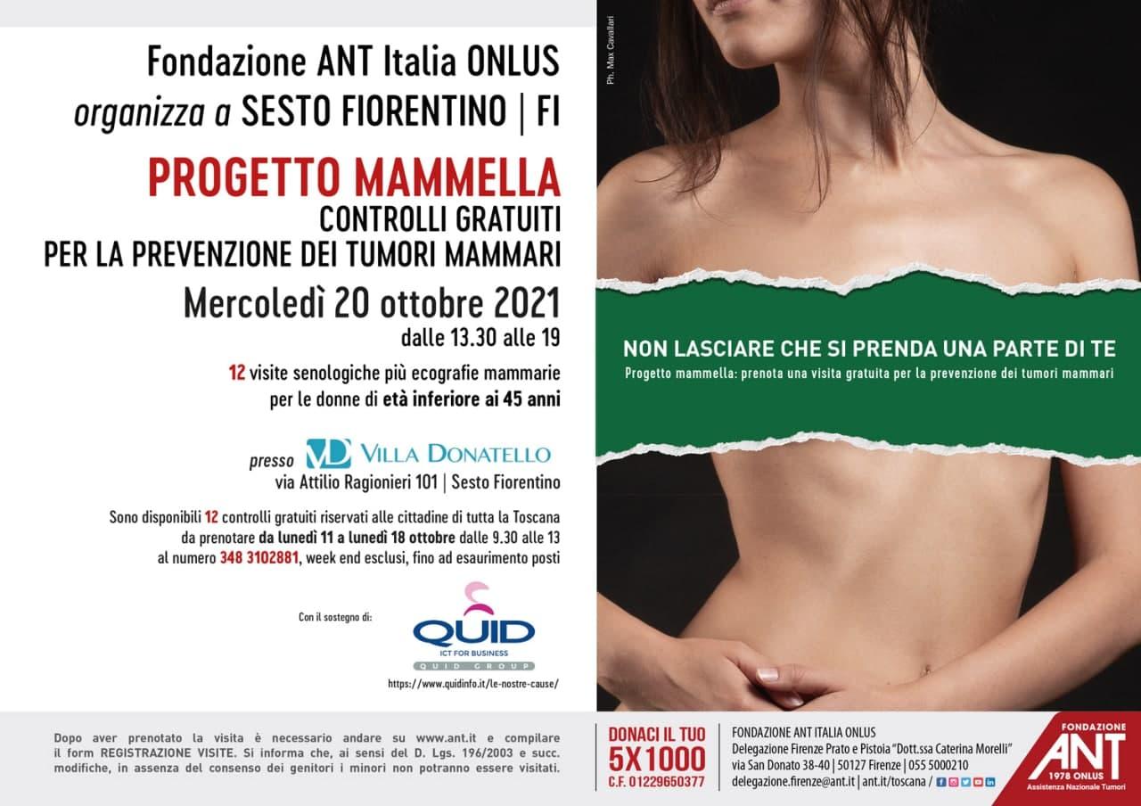 locandina di presentazione del Progetto Mammella Ottobre 2021 presso Villa Donatello